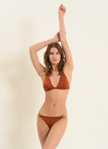 Morhipo Beach Kadın Halka Detaylı Üçgen Bikini MBKSS21BK0043 Kahve